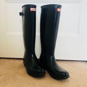 Hunter Women's Original Tall Gloss Black Boots, 9